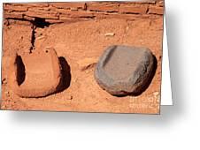 Metates At Wupatki Pueblo In Wupatki National Monument Greeting Card
