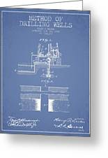 Method Of Drilling Wells Patent From 1906 - Light Blue Greeting Card