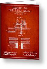 Method Of Drilling Wells Patent From 1906 - Red Greeting Card