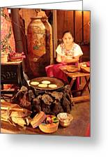 Mexican Girl Making Tortillas Greeting Card by Roupen  Baker
