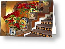 Mexican Pottery On Staircase Greeting Card