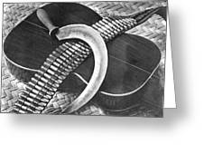 Mexican Revolution Guitar, Sickle Greeting Card