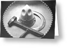 Mexican Revolution Sombrero With Hammer Greeting Card