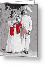 Mexican Revolutionary  Couple In Photo Studio No Location  C.1914-2014 Greeting Card