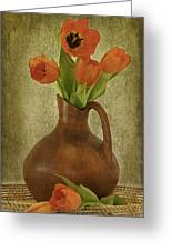 Mexican Water Jug With Poppies Greeting Card