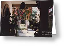 Mexico Garden Patio By Tom Ray Greeting Card