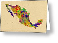 Mexico Map Watercolor Greeting Card
