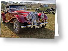 Mg Model Tf 1953 And Ford Model A 1928 Roadsters Greeting Card