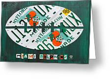 Miami Dolphins Football Recycled License Plate Art Greeting Card