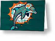 Miami Dolphins Football Team Retro Logo Florida License Plate Art Greeting Card