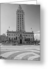 Miami Freedom Tower 3 - Miami - Florida - Black And White Greeting Card