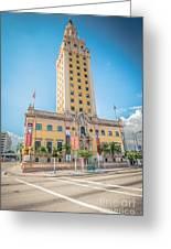 Miami Freedom Tower 4 - Miami - Florida Greeting Card by Ian Monk