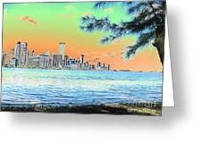 Miami Skyline Abstract II Greeting Card