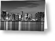 Miami Skyline At Dusk Black And White Bw Panorama Greeting Card by Jon Holiday
