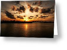 Miami Skyline Sunset Greeting Card