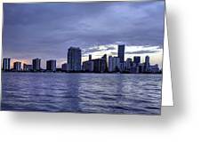 Miami Skyline Waves Greeting Card