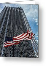 Miami's Financial Center And Old Glory Greeting Card by Rene Triay Photography