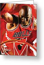 Michael Jordan Artwork 3 Greeting Card by Sheraz A