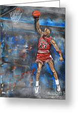 Michael Jordan Dunk Greeting Card by Charlie Palline