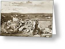 Michael Noon Sitting On A  Pile Of Whale Bones Monterey Wharf  Circa 1896 Greeting Card