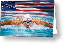 Michael Phelps Artwork Greeting Card