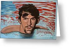 Michael Phelps Greeting Card by Paul Meijering