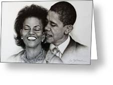 Michelle Et Barack Obama Greeting Card by Guillaume Bruno