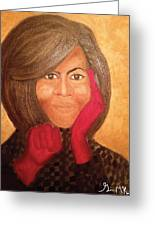 Michelle Obama Greeting Card by Ginnie McKnight