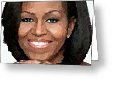 Michelle Obama Greeting Card by Samuel Majcen