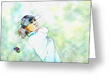 Michelle Wie Hits Her Tee Shot On The Sixth Hole Greeting Card