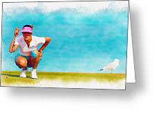 Michelle Wie Lines Up A Putt On The Eighth Green Greeting Card