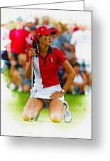 Michelle Wie Of The Usa Solhiem Cup Reacts After Missing A Putt Greeting Card