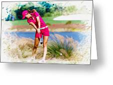 Michelle Wie Plays A Shot On The 6th Hole Greeting Card