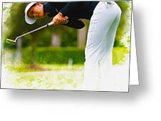 Michelle Wie  Putt On The Tenth Green Greeting Card
