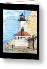 Michigan City Lighthouse In Nautical Chart Map Art Cathy Peek Greeting Card
