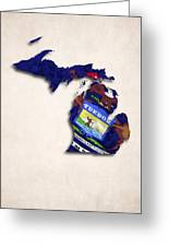 Michigan Map Art With Flag Design Greeting Card