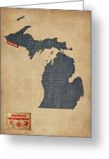 Michigan Map Denim Jeans Style Greeting Card by Michael Tompsett