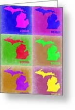 Michigan Pop Art Map 2 Greeting Card