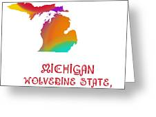 Michigan State Map Collection 2 Greeting Card