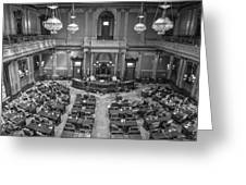 Michigan Tate Senate Black And White From Above Greeting Card