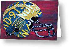 Michigan Wolverines College Football Helmet Vintage License Plate Art Greeting Card
