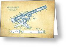 Microscope Patent Drawing From 1915 - Vintage Paper Greeting Card