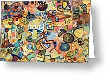 Mid Century Mushroom Madness Greeting Card