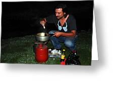 Mid Night Cooking At River Bank Greeting Card by Vijinder Singh