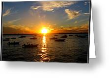 Mid Summer Sunset Over The Island Greeting Card