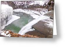 Middle Falls And Ice Feathers Greeting Card
