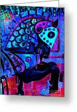 Midnight Blue Carousel Horse Greeting Card
