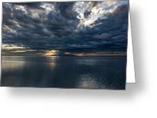 Midnight Clouds Over The Water Greeting Card