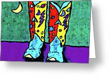 Midnight Cowboy Boots Greeting Card