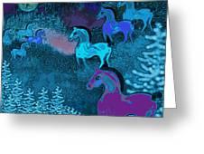 Midnight Horses Greeting Card